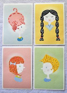 ステッチして楽しむカード「DIY Printable Sewing Cards」    子どもたちの洋服を裁縫で作っていた、ある母親から生まれたアイデア。少年や少女のデザインを白い紙に印刷して、白い点に沿って穴をあけます。その穴に沿って、糸でステッチしていくだけで簡単に楽しむことができるようになっています。少年や少女は、三つ編みやおかっぱなどさまざまなヘアースタイルをしてたり、可愛らしい表情をしていたりと、癒されるビジュアルも特徴。出来上がったカードは誰かに贈るもよし、部屋に飾ってもよし、完成した後も楽しめます。
