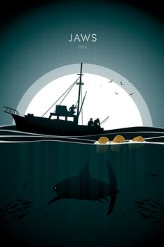 Jaws movie poster print by Wolf and Rocket Jaws Movie Poster, Best Movie Posters, Film Posters, Jaws Film, Film Pictures, Horror Pictures, Godzilla, Kraken Art, Shark Photos