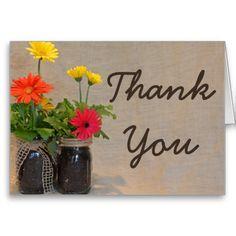 Mason Jar Gerbera Daisy Country Thank You Card