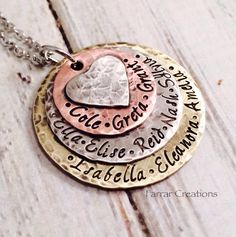 Hand Stamped Mixed Metal Stacked Family Necklace, Stacked Mothers Necklace, grandmother necklace - Hand Stamped Keepsake
