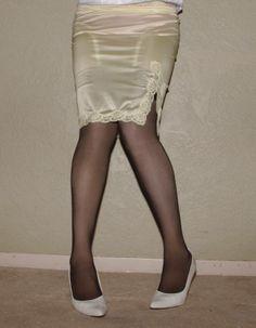 Visible Garter Bumps Under Cream Half Slip Sheer Black Stockings and White High Heels