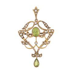 A. Brandt + Son - Art Nouveau 9kt Peridot & Seed Pearl Lavalier Pin/Pendant