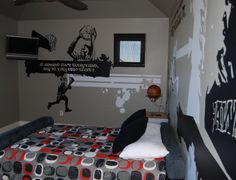 Sports Graffiti Room so doing this Shawnie! Bedroom Themes, Kids Bedroom, Bedroom Ideas, Basketball Bedroom, Basketball Stuff, Indoor Basketball, Graffiti Room, Cool Kids Rooms, Boys Room Decor