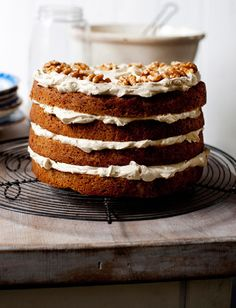 Pumpkin spice cake with cream cheese icing. Yummy!