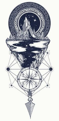 ▷ 1001 + ideas for a beautiful and meaningful compass tattoo - black and white drawing, compass rose tattoo, mountain landscape, with a river flowing - Nature Tattoos, Compass Tattoo, Body Art Tattoos, Mountain Tattoo, Arrow Tattoos, Trendy Tattoos, Tattoo Design Drawings, Geometric Tattoo, Arrow Tattoo