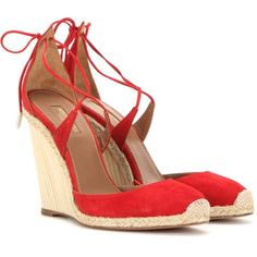 Aquazzura Karlie 110 Wedge Suede Sandals (4,590 GTQ) ❤ liked on Polyvore featuring shoes, sandals, red, wedge heel sandals, suede sandals, suede leather shoes, red shoes and aquazzura shoes