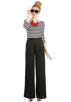 Every Opportunity Pants in Black - Woven, Black, Solid, Buttons, Pockets, Nautical, Good, High Waist, Variation, Menswear Inspired, Wide Leg, High Rise, Full length, Black, Spring, Fall, Winter, Social Placements, WPI