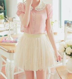 Blouse is Sweet Lolita, but skirt is too short.