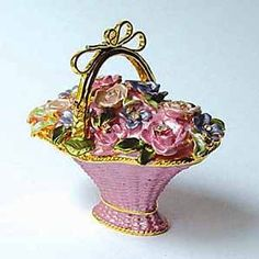 PINK Flowered Basket Trinket Box Swarovski Crystals Figurine, Pill Box