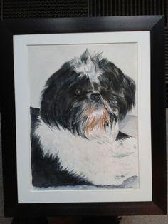 En skøn hund-akvarel