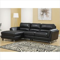 Bonded Leather Sofa Lounger In Black I 8210bk Lowest Price Online On All