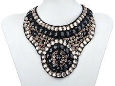 Statement Black Tribal Inspired Peach Tone Beaded Sequin Fashion Bib Necklace $13.99