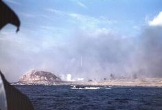 Landing craft underway off Iwo Jima's eastern shore during the initial day of landings, 19 Feb 1945 (Photographer: Howard Whalen; US Naval History and Heritage Command: NH Battle Of Iwo Jima, Landing Craft, Red Beach, Naval History, Us Marines, Armed Forces, World War Ii, Wwii, Waves