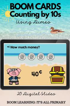 "Give your students practice with counting by 10s with coins. This deck focuses on the US dime. Students will answer, ""how much money"" and drag the dimes into a treasure chest. Boom Cards are great for remote learning, online learning and home learning. Use them as part of your math centres. NO PREP! Self-Grading!"