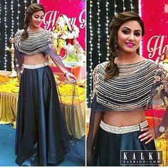 Hina khan Indian Lehenga, Indian Gowns, Indian Wear, Indian Designer Outfits, Indian Outfits, Designer Dresses, Stylish Dresses, 15 Dresses, Lehnga Dress