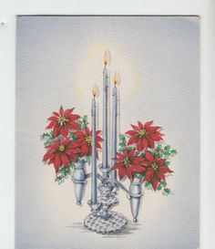 Vintage-Poinsettias-With-Candles-Christmas-Greeting-Card