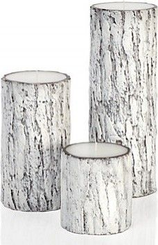 White frosted bark candles