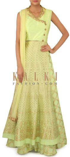 Pista green lehenga embellished in zardosi embroidery only on Kalki