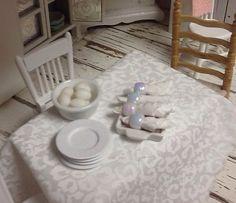 Miniature Dollhouse -  tablecloth napkins and napkin - by Debbie Calif,  - $10.00