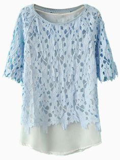 Blue Lace Blouse with Vest Lining | Choies