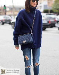Navy sweater and chanel bag