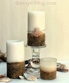 Easy DIY Beachy Candles - Give plain pillar candles a beachy look with sand and seashells. Sand Candles, Diy Candles, Pillar Candles, Homemade Candles, Scented Candles, Nautical Candles, Making Candles, Seashell Crafts, Beach Crafts