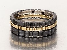 Conni Mainne, Pavers (3 stacking rings), 18k, platinum/sterling , black sapphires