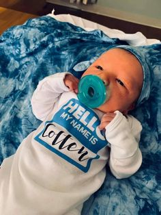 "Like the ""Hello My Name Is"" stickers, only better! This darling unisex bodysuit is the perfect gender neutral baby shower gift, baby boy or girl coming home from the hospital outfit and babys 1st photo outfit."