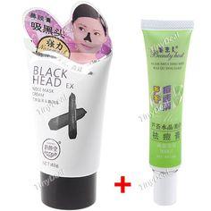 Magic Charcoal Comedo Removal Nose Mask Black Head Blackhead Remover Cleaner + Aloe Acne Remover Cream