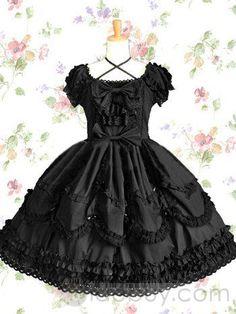 Negro manga corta cuello redondo Gothic Vestido Lolita