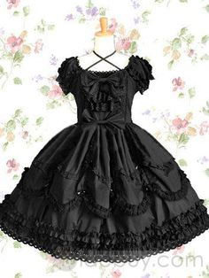 Black Short Sleeves Cotton Round Collar Gothic Lolita Dress