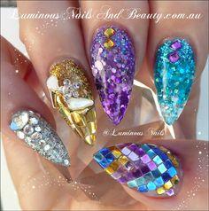 Luminous+Nails+and+Beauty,+Gold+Coast+QLD.+Sculptured+Acrylic+with+Glitter+Heaven+Glitter. Get Nails, Love Nails, How To Do Nails, Hair And Nails, Style Nails, Fabulous Nails, Perfect Nails, Amazing Nails, Nailart