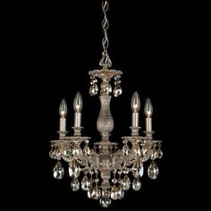 Schonbek Milano 5 Light Crystal Chandelier Finish: Parchment Gold, Crystal Color: Strass Silver Shade