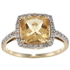 Viducci 10k Gold Gemstone and 1/5ct TDW Diamond Ring (G-H, I1-I2) | Overstock.com