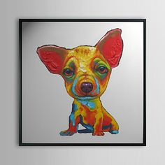 Artist Signed Acrylic Painting of Colorful Dog Additional Information on Art: Artist Signed Acrylic on Canvas Painting of Colorful Dog Art Medium: Acrylic on Canvas Signature: Illegible Approximate Dimensions (Width x Height x Thickness of. Oil Painting On Canvas, House Painting, Chihuahua, Online Painting, Animal Paintings, Dog Art, Medium Art, Deco, Framed Art