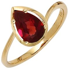 Damen Ring 585 Gold Gelbgold 1 Granat rot Goldring A40518 56