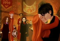 Harry and Ginny kissing by ~greendesire on deviantART