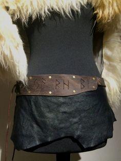 Skirt Leather Black Brown With Runes lederrockit von Elbengard