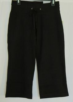 SMALL Capri Pants NEW Black Tek Gear Workout Moisture Wicking Bottoms NWT Womens #TekGear #Capris #workout  SMALL. They are black performance capris that are made of a stretchy cotton blend and feature moisture wicking technology with a tag free waist and a front drawsting tie