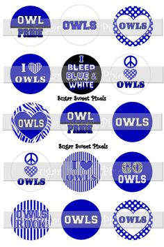 INSTANT DOWNLOAD OWLS Royal Blue  School Mascot by sugarnspicebow