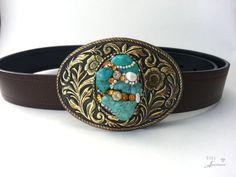 Turquoise belt buckle Boho Women's Western by EyesofAnastasia