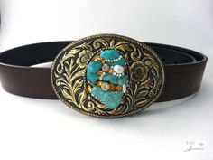 Turquoise belt buckle Boho Women's Western by EyesofAnastasia