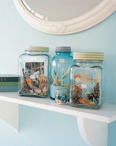 You can keep vacation memories a little stronger a little longer with vacation memory jars. Filled with souvenirs collected on trips and pictures developed afterward, they are like little worlds that can be visited again and again. Kids can also add to them or rearrange them anytime they like.
