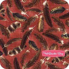 Think dress fabric....Farm Fresh Red Tossed Feathers Yardage <br/>SKU# 39765-1