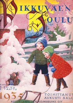 Pikkuväen joulu 1935, johon kannen teki Rudolf Koivu. History Of Finland, Christmas Cards, Xmas, Nouvel An, Childrens Books, Nostalgia, Painting, Fictional Characters, Fairies