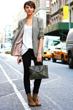 tom boy style; it's the blazer and purse and skinny jeans; oh heck, it's everything that i like