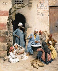 Ludwig DeutschThe sahleb vendor, Cairo, 1886. Oil on panel.