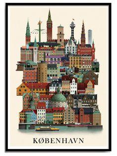 A beautiful and detailed illustration of Copenhagen by Danish illustrator, Martin Schwartz. Retro Poster, Plakat Design, Framed Prints, Art Prints, Art Mural, Vintage Travel Posters, Illustrators, Tourism, Copenhagen Denmark