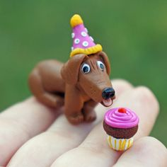 Dachshund Dog and Cupcake Miniature Figure by jellybeanjunction, $15.00