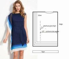 Moda e Dicas de Costura: Dress/Tunic Easy to Do. Diy Clothing, Sewing Clothes, Clothing Patterns, Dress Patterns, Sewing Patterns, Fashion Sewing, Diy Fashion, Ideias Fashion, Robe Diy